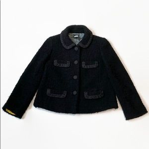J. Crew Boucle Tweed Wool Penny Jacket Black 0